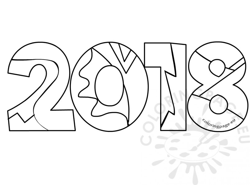 New Year 2018 Coloring Pages Template Image Picture Photo Wallpaper 06