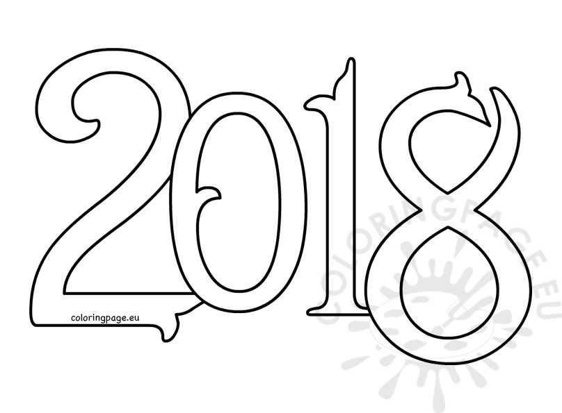 New Year 2018 Coloring Pages Template Image Picture Photo Wallpaper 07