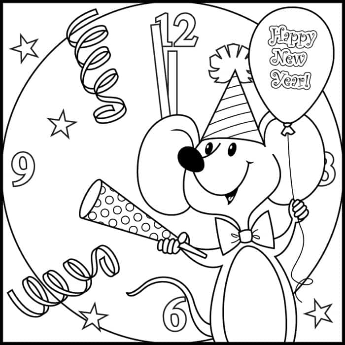 New Year 2018 Coloring Pages Template Image Picture Photo Wallpaper 09