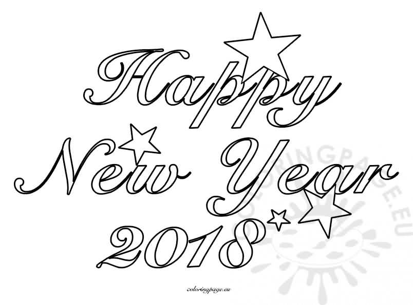 New Year 2018 Coloring Pages Template Image Picture Photo Wallpaper 10