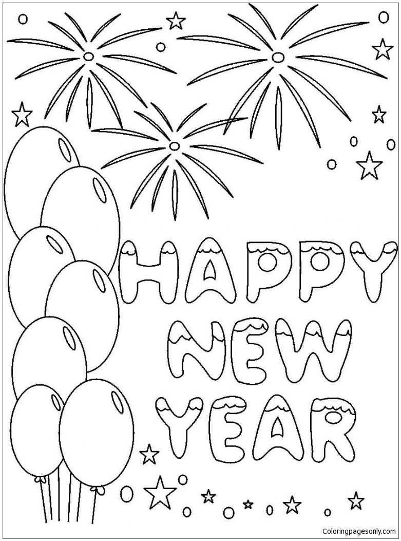 New Year 2018 Coloring Pages Template Image Picture Photo Wallpaper 12