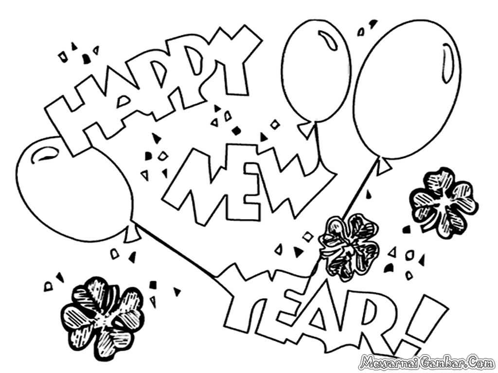 New Year 2018 Coloring Pages Template Image Picture Photo Wallpaper 19