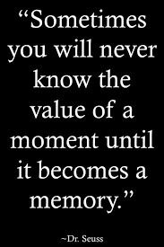 Sometimes You Will Never Know The Value Of A Moment Until It Becomes A Memory Dr. Seuss