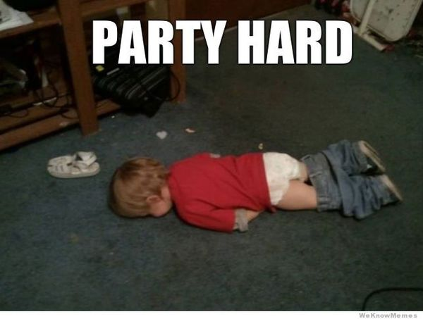Amusing weekend party meme joke