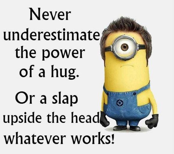 Hilarious minion hug meme image