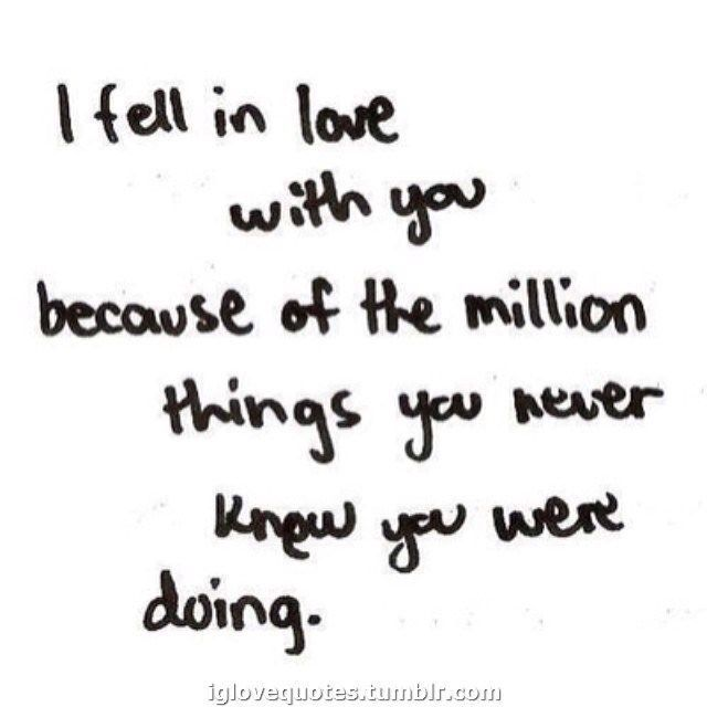 I Fell In Love With You Because Of The Million Things