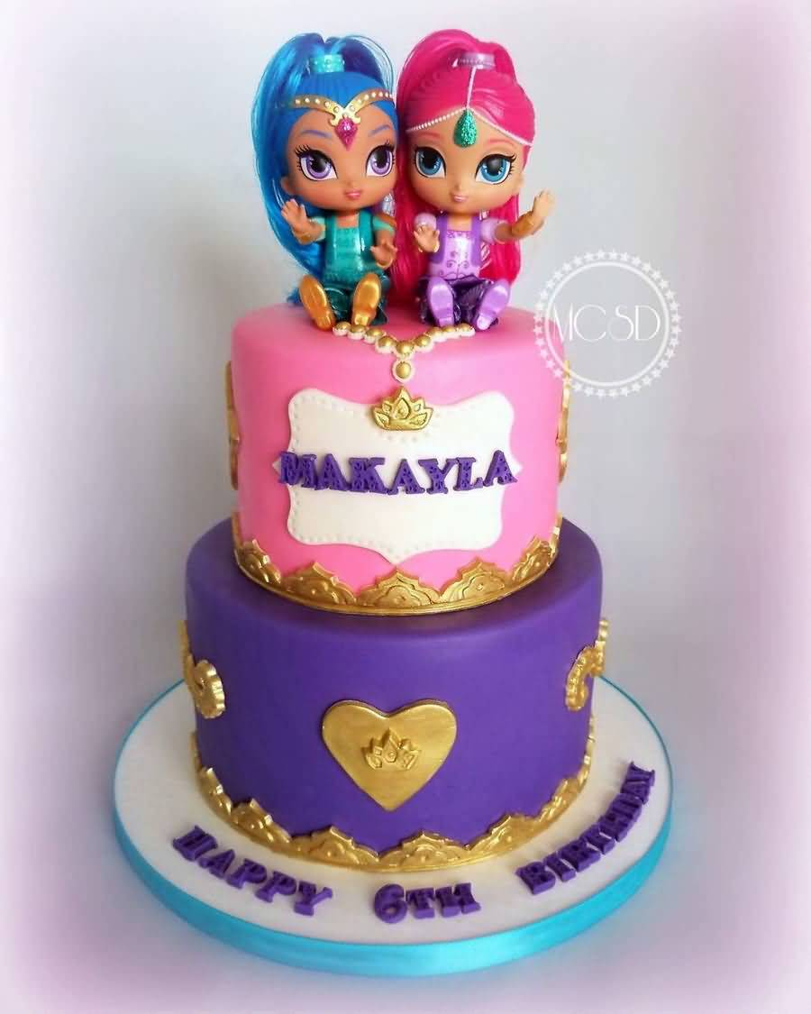 Shimmer and Shine Birthday Cake Image Photo Party 07