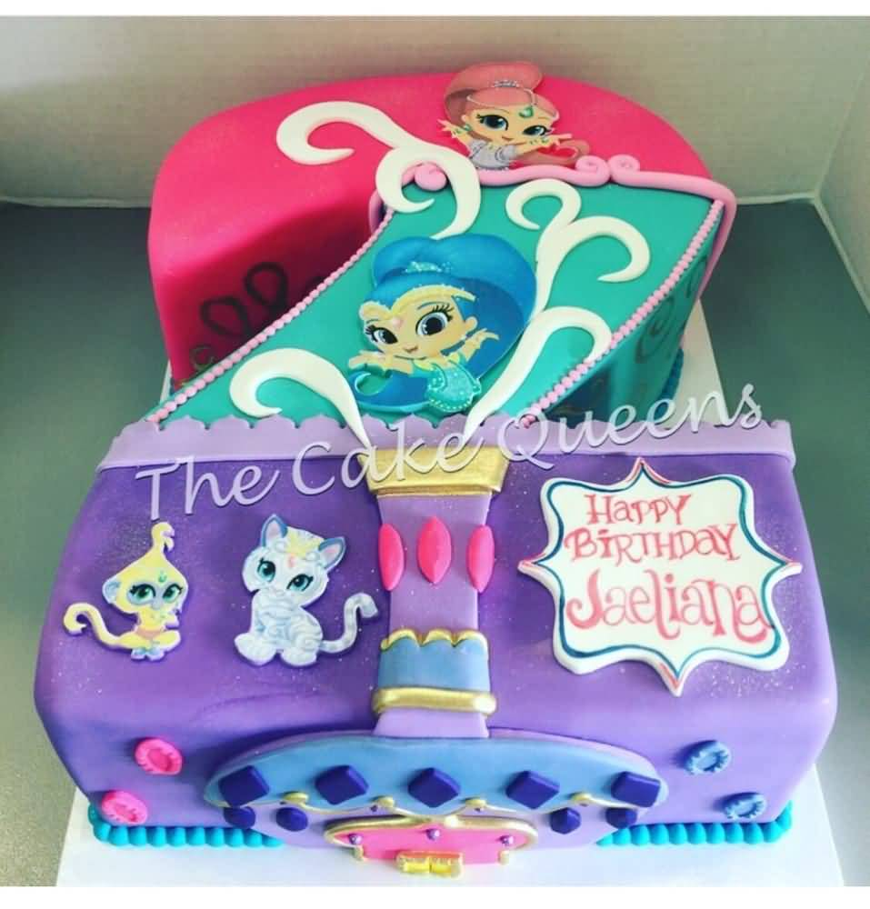 Shimmer and Shine Birthday Cake Image Photo Party 15