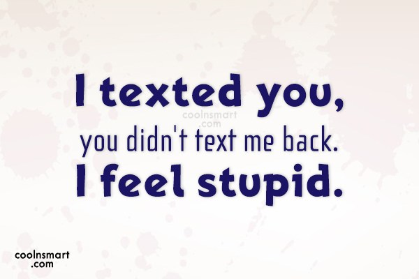 I Texted You You Didn't Text Me Back