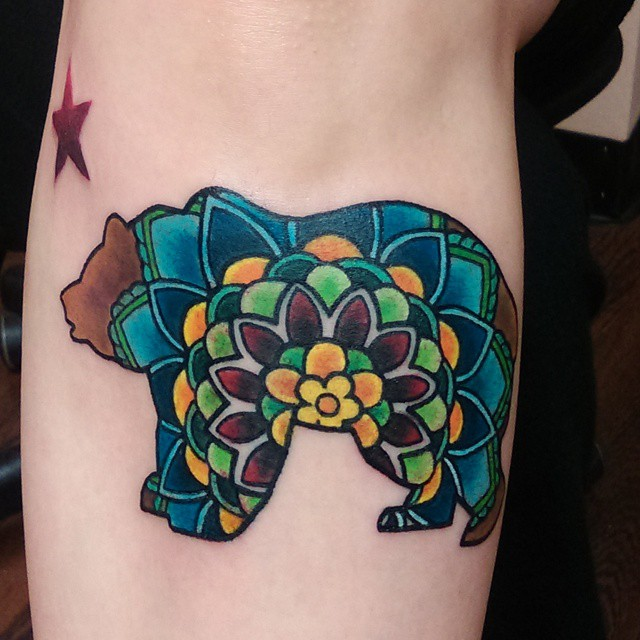 Brilliant Colorful Ink Bear Flower Tattoo Design For Girl Sleeve