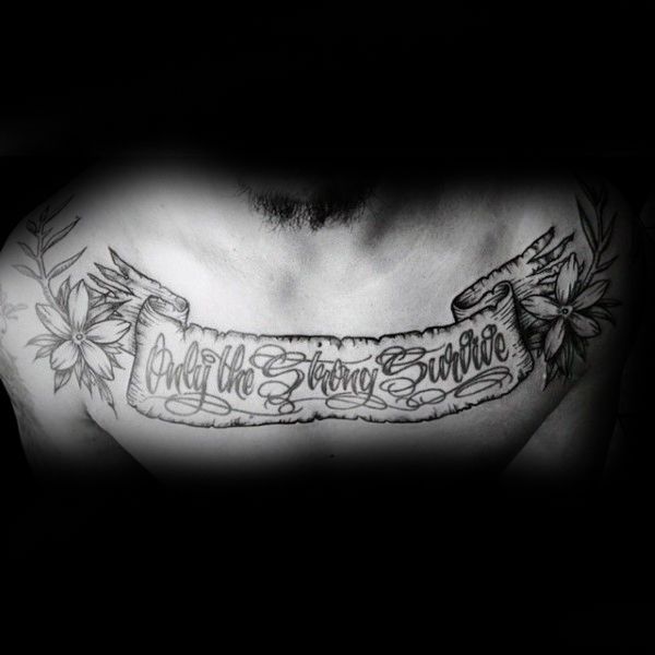 Coolest Black Ink Old Vintage Banner and Flower Tattoo On Men Chest