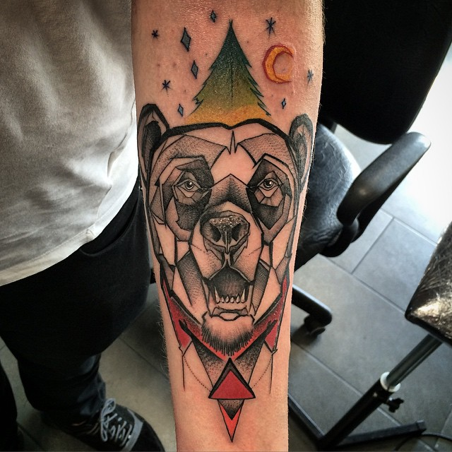 Coolest Grey Ink Bear Head Tree Moon Tattoo Design On Men Forearm