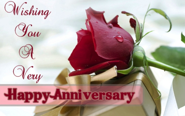 Cute Anniversary Wishes With Red Rose