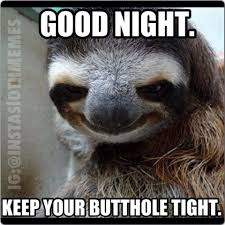 Good night keep your butthole tight Funny Sloth Rape Memes Pictures