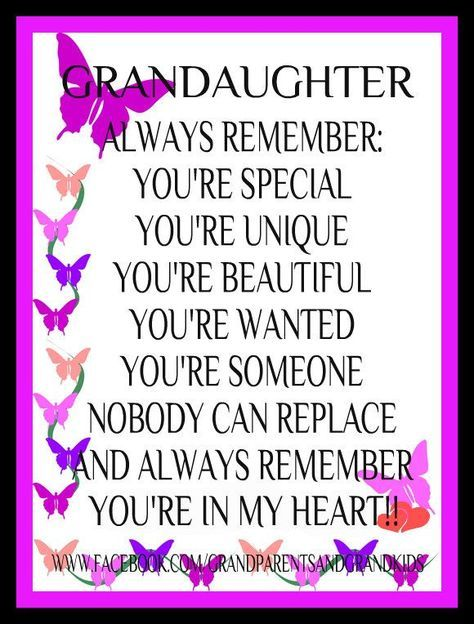 Granddaughter Always Remember You're Special Sweet Sayings About Granddaughters