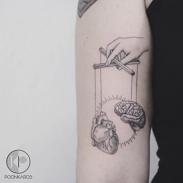 Heart And Mind Controled By Another Bipolar Tattoo Image