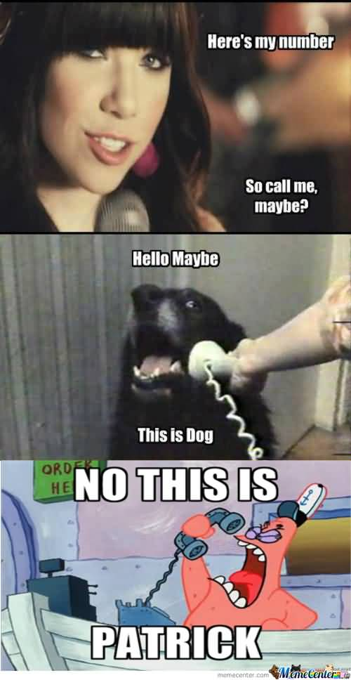 Here's my number so call me maybe hello maybe this is dog Funny Patrick Meme