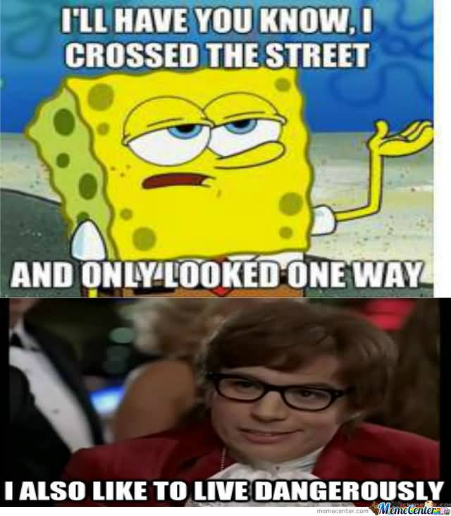 I'll have you know, i crossed the street and only looked one way i also like to live dangerously Funny Spongebob Memes
