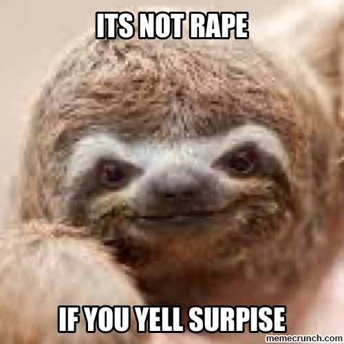 It's not rape if you yell surpise Funny Sloth Rape Memes Pictures