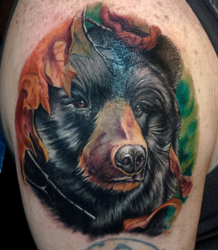 Mind Blowing 3d Bear Animal Face Animated Tattoo For Men Shoulder
