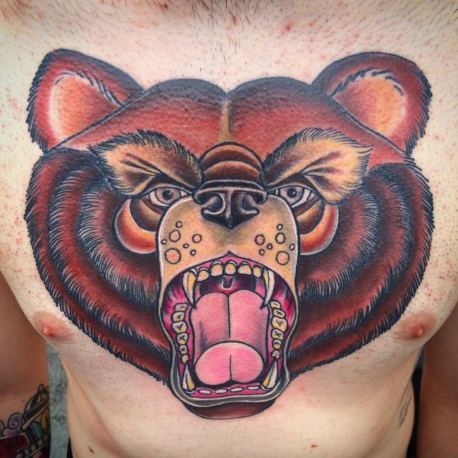 Mind Blowing Bear Face and Head Tattoo Design On Men Chest