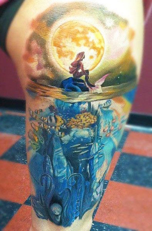 Mind Blowing True Animated Mermaid Moon Sea Tattoo For Thigh
