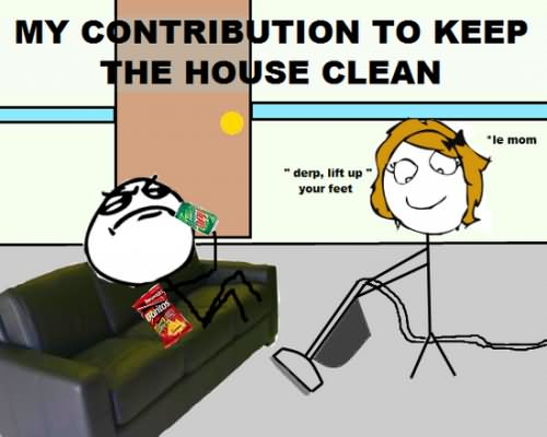 My Contribution To Keep The House Clean Funny Lazy Memes