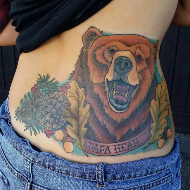 Nice Colorful Ink Bear Animal Leaf Tattoo Design On Women Waist