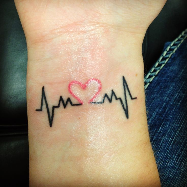 Outstanding Red and Black Ink Heartbeat Tattoo Design On Men Wrist