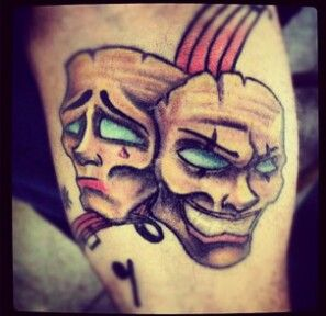 Sad and Happy Mask Tattoo For Bipolar