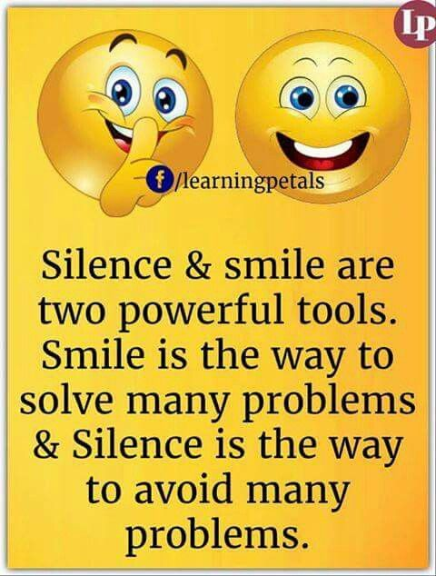 Silence & Smile Are Two Emoji Quotes About Life