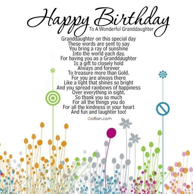 Sweet Sayings About Granddaughters Happy Birthday To A Wonderful