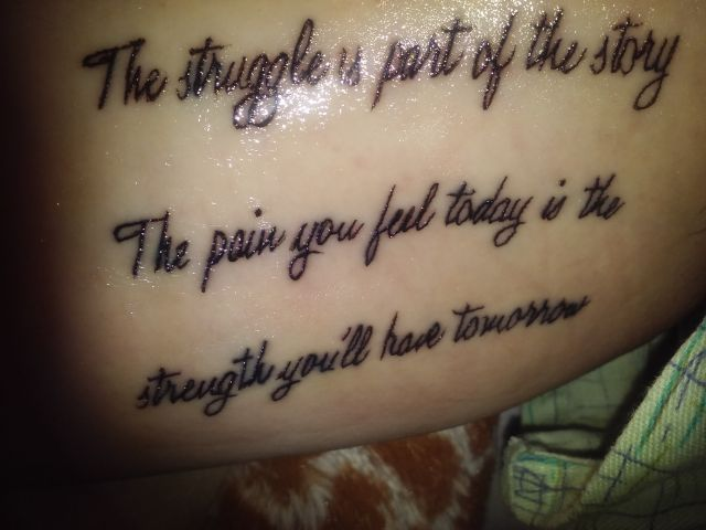 The Sturggle Is Part Bipolar Quote Tattoo