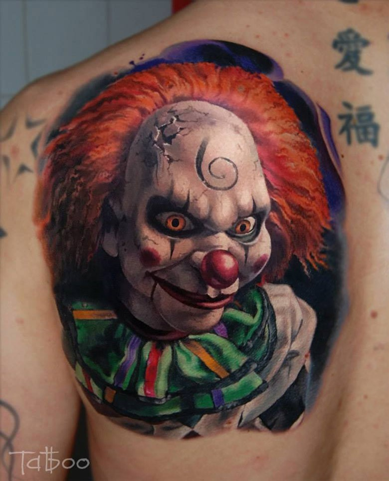 Very Scary Colorful 3d Animated Clown Face Tattoo For Men Back Shoulder
