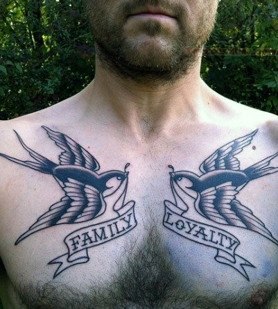 Wonderful Swallow Birds and Family Loyalty Banner Tattoo For Men Chest