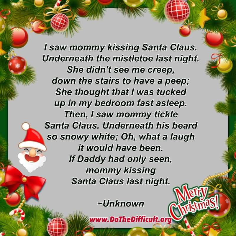 Santa Claus Quotes I Saw Mommy Kissing
