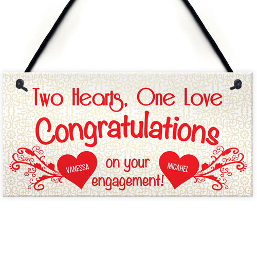 Two Hearts One Love Congratulations Congratulations Engagement